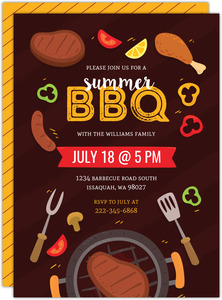 Fun Grilling BBQ Printable Summer Party Invitation