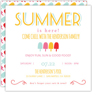 Festive Popsicles Printable Summer Party Invitation
