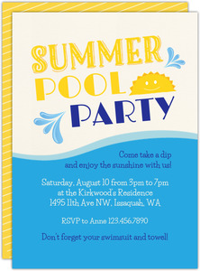Sunny Summer Pool Printable Summer Party Invitation