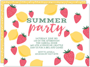 Strawberry Lemonade Printable Summer Party Invitation
