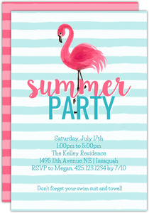 Flamingo Stripes Printable Summer Party Invitation