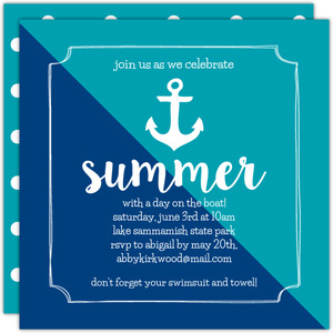Modern Anchor Printable Summer Party Invitation