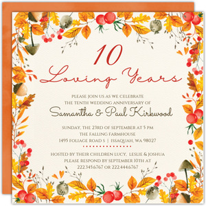 Autumn Foliage Printable Anniversary Invitation