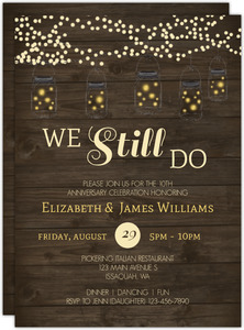 Rustic String Lights Printable Anniversary Invitation