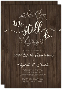 Textured Wood Botanical Printable Anniversary Invitation