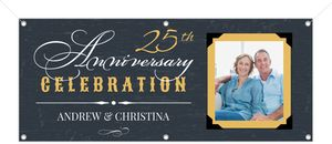 Yellow Vintage Frame Anniversary Banner