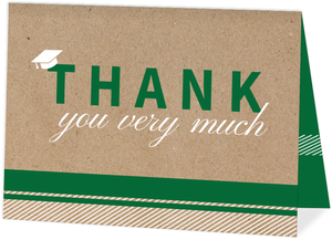 Kraft Green & White Stripes Graduation Thank You Card