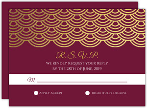 Elegant Red Wine Gold Foil Scallop Wedding Responce Card