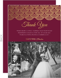 Elegant Red Wine Gold Foil Scallop Wedding Thank You Card
