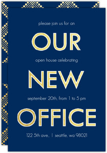 Faux Gold Navy New Office Printable Invitation