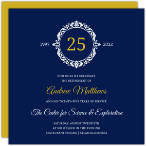 Navy and Gold Frame Business Retirement Printable Invitation