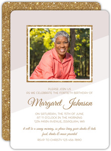Modern Glitter Frame 40th Birthday Invitation