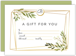 Faux Gold Geometric Greenery Printable Gift Certificate