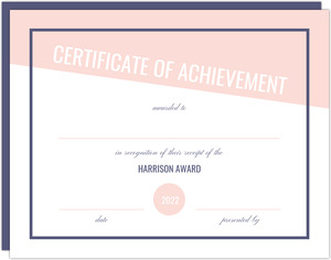 Modern Pink and Navy Printable Certificate