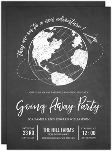 Sketched Globe Adventure Going Away Printable Party Invitation