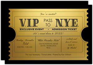 Vip Golden Ticket New Years Printable Party Invitation