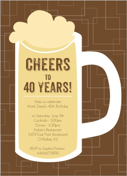 Brown Beers Cheers 40th Birthday Invitation 40th Birthday Invitations