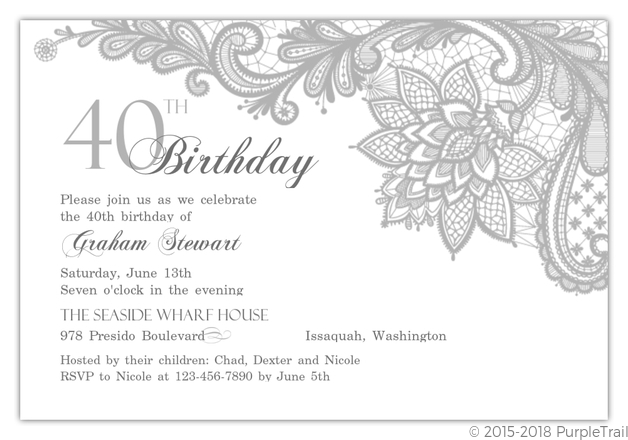 Elegant Lace Silver 40th Birthday Invitation 40th Birthday Invitations