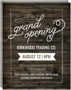 Rustic Wood Grand Opening Printable Flyer