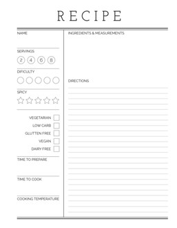 Simple Lined Template Recipe Printable Custom Pages