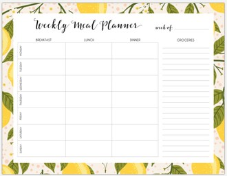 Lemon Vine Weekly Meal Printable Custom Pages