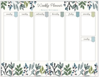 Watercolor Foliage Decor Weekly Printable Custom Pages