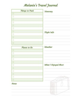 Journal Custom Travel Checklist Printable Custom Pages