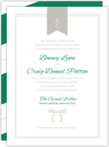 Preppy Chic Bow Wedding Invitation