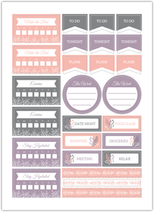 Pink Foliage Habit Tracker Custom Planner Stickers