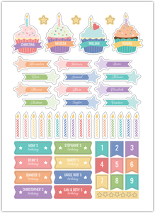 Birthday Cupcakes Custom Planner Stickers