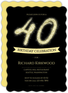 Firework Sparkler 40th Birthday Party Invitation