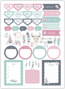 Soft Boho Chic Custom Planner Stickers