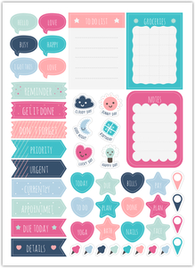Bright Cute Shapes Custom Planner Stickers