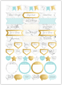 Faux Gold And Marble Custom Planner Stickers