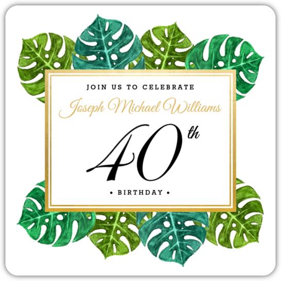Elegant Tropical Surprise 40th Birthday Invitation 40th Birthday
