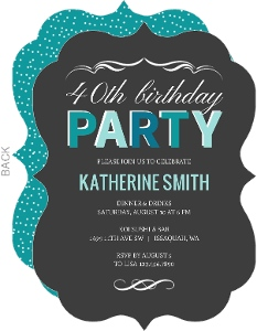 Turquoise Celebration 40th Birthday Invitation