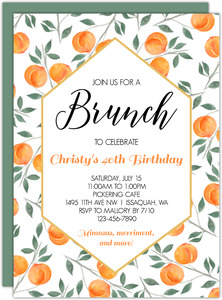 Watercolor Peach 40th Birthday Invitation