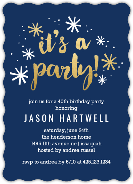 Navy and Gold Confetti 40th Birthday Party Invitation | 40th Birthday Invitations