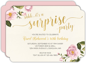 Surprise Pink Floral 40th Birthday Invitation