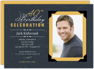 Yellow Vintage Frame 40th Birthday Invitation