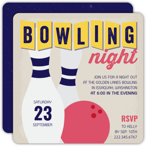 Retro Bowling Night Party Invitation