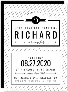 Modern Black & White 40th Birthday Invitation