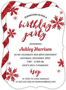 Circle and Banner Holiday Birthday Invitation