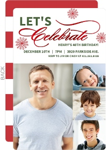 Photo Timeline Foil Celebrate Holiday Birthday Invitation