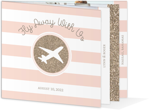 Pink Stripes Glitz Save The Date Announcement