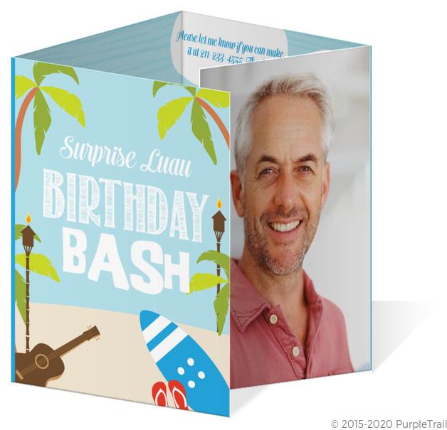 Funny Luau Surprise Birthday Party Invitation