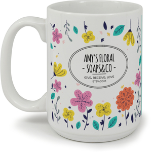 Bold Colored Floral Business Mug