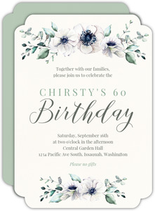 Delicate Anemone Floral 60th Birthday Invitation