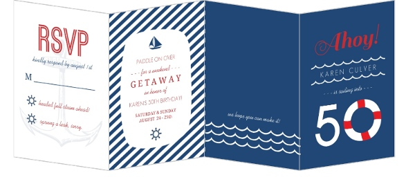 Nautical Weekend Getaway 50Th Birthday Invitation 50th Birthday