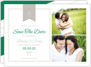Preppy Chic Bow Save The Date Announcement